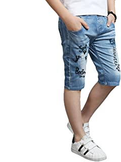 子供服 男の子 デニムパンツ ハーフパンツ キッズ ショートパンツ 五分丈 色落ち加工 ファッション ジーンズ ストレッチ パンツ 短パン 半ズボン 子供用 かっこいいウェストゴム 通学 通園 カジュアル 110-160cm