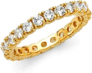 14k Solid Yellow Gold Eternity Band Stackable Ring Channel Set Endless Wedding Band 2.6 MM