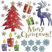 ウォールステッカー クリスマス Christmas Xmas 飾り 90×90cm Lsize シール式 装飾 オーナメント ツリー リース 2020 xmas Xmas DIY サンタ パーティー イベント サンタ ツリー トナカイ 雪 017064