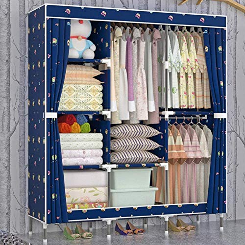WQF Armario de lona Tela Oxford Almacenamiento de ropa Dormitorio Sala de estar Dormitorio 25 Mm Tubo de acero Armario plegable portátil Cerrado A prueba de polvo-Fondo azul Dog_119 * 45 * 166Cm