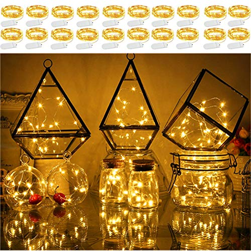 LED Fairy Micro String Lights, Micro Fairy Light Battery String Lights 20 Pack 20 LED Waterproof Lights Starry String Light for Christmas DIY Bedroom Garden Party Decor(Warm White)