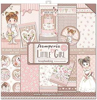 """Stamperia SBBL67 Bloc Papier Scrap double Face 10 feuilles 30,5x30,5 (12""""x12"""") - Little Girl, Multicolore, 5cm"""