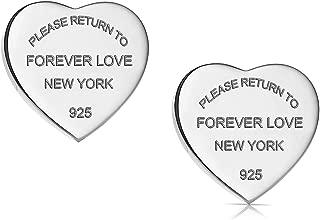 Titanium Steel Forever Love Heart Earrings Studs