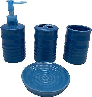 Desconocido Juego de 4 Piezas para baño en cerámica (Azul)