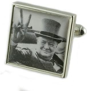 Select Gifts Cuff Links Winston Churchill Cufflinks~Victory~World War Cufflinks + Hand Made Pouch