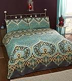 Asha - Set Copripiumino Matrimoniale e 2;federe design indiano, color smeraldo, set biancheria da letto, colore verde/foglia di tè, letto king size