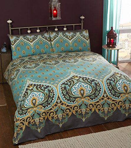Rapport Emerald Indian Design Duvet Quilt Cover And 2 Pillowcase Bed Set, Polyester-Cotton, King