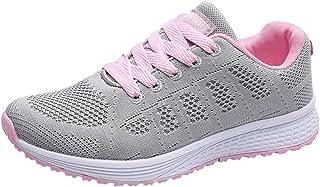 Zapatos Planos para Mujer Blanco Zapatillas Deportivas para Correr Zapatos de Malla con Cordones Tacón bajo 3cm
