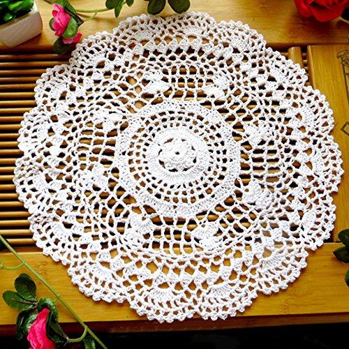 SWIDUUK Platzdeckchen/Platzdeckchen aus Meeresholz, Vintage, hohles Blumenmuster, handgehäkelt, Spitze, rund, Tischuntersetzer weiß