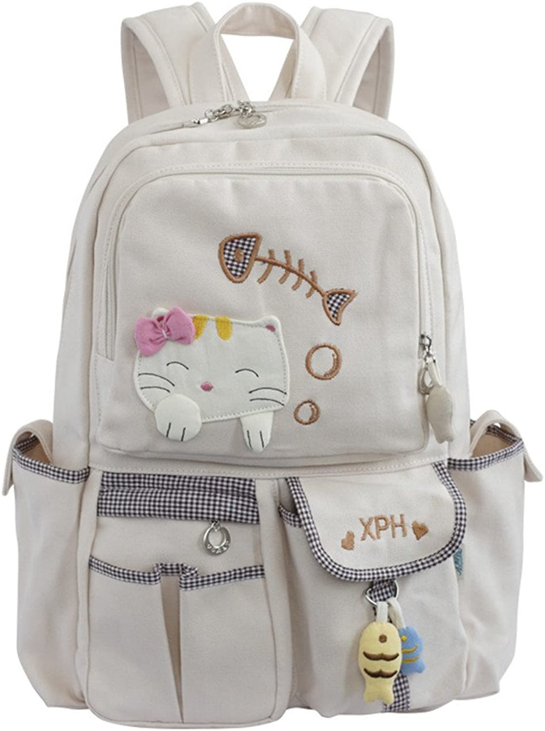 Julianana Handmade Sewing Canvas Backpack Travel Daypack For Girls Cute Cartoon Cat