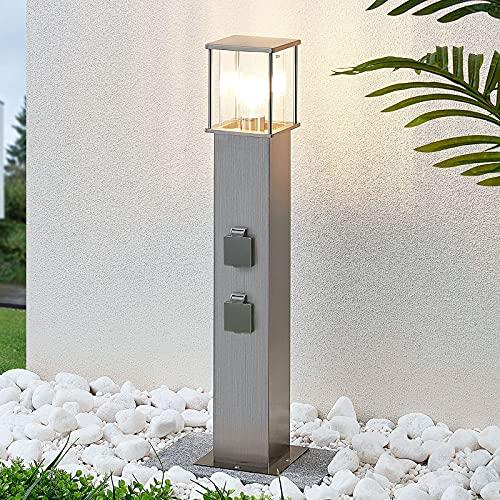 Lindby Edelstahl Wegeleuchte mit 2 integrierten Steckdosen | spritzwassergeschützt IP54 | Aussenleuchte 70cm | 1x E27 max. 20W, ohne Leuchtmittel