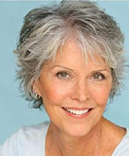 Royalfirst Short Curly Wigs for Women Silver Gray White Hair Wigs Heat Resistant Synthetic with Wig Cap