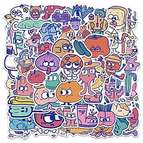 /Set Dibujos Animados Retro Imagen Doodle Graffiti Pegatina Para Niños Equipaje Monopatín Casco Portátil Trolley Frutas/50 Unids