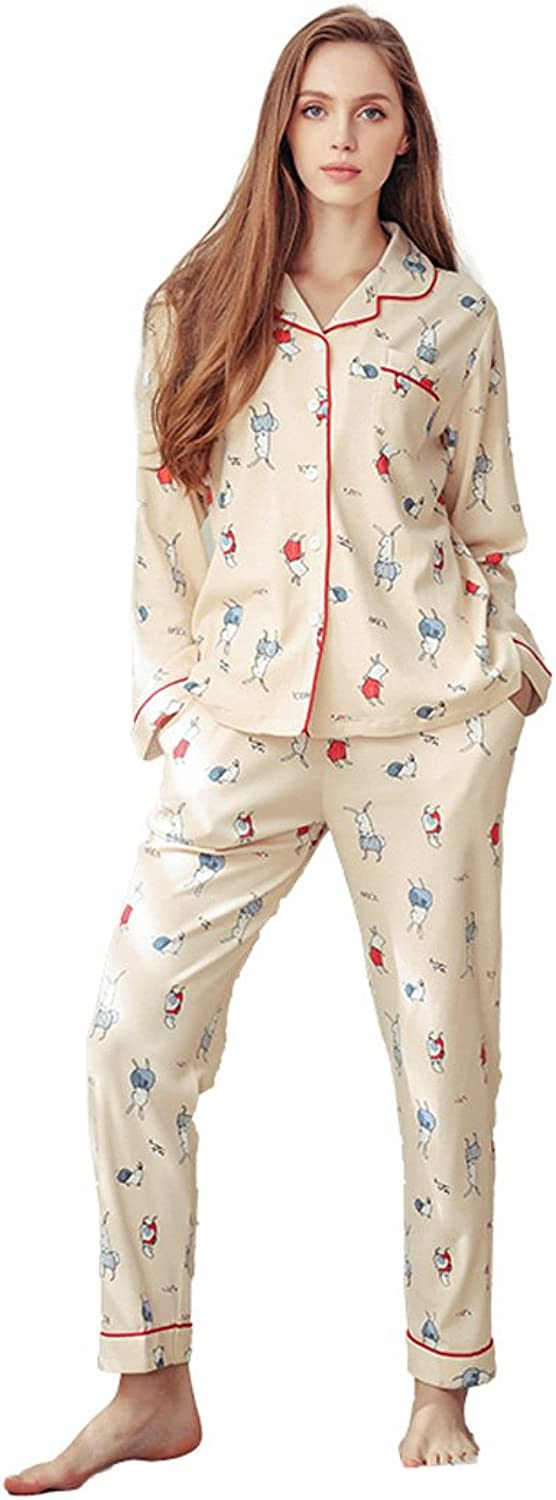 Lady beige knitted cotton pajamas cute cartoon girl knitting long sleeves sweet home suits ( color   Beige , Size   L )