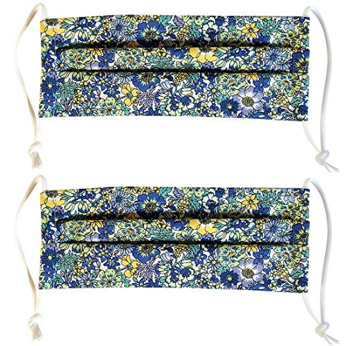 2 Pack 100% Cotton Reusable Washable Adjustable Metal Strip Face Mouth Mask Double Layer Anti-Dust Fashion Outdoor Cloth Cover (Blue Flower)