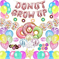CNsoyee 60 Pcs Donut Grow Up Party Decoration Kit-Doughnut Birthday Party decoration set Party Supply Party Favor Pack with Rose Red Donut Grow Up Banner Latex Balloon Foil balloon Multicolored Confetti Balloon Agate Balloon Donut Cupcake Topper for Boy Girl Kids