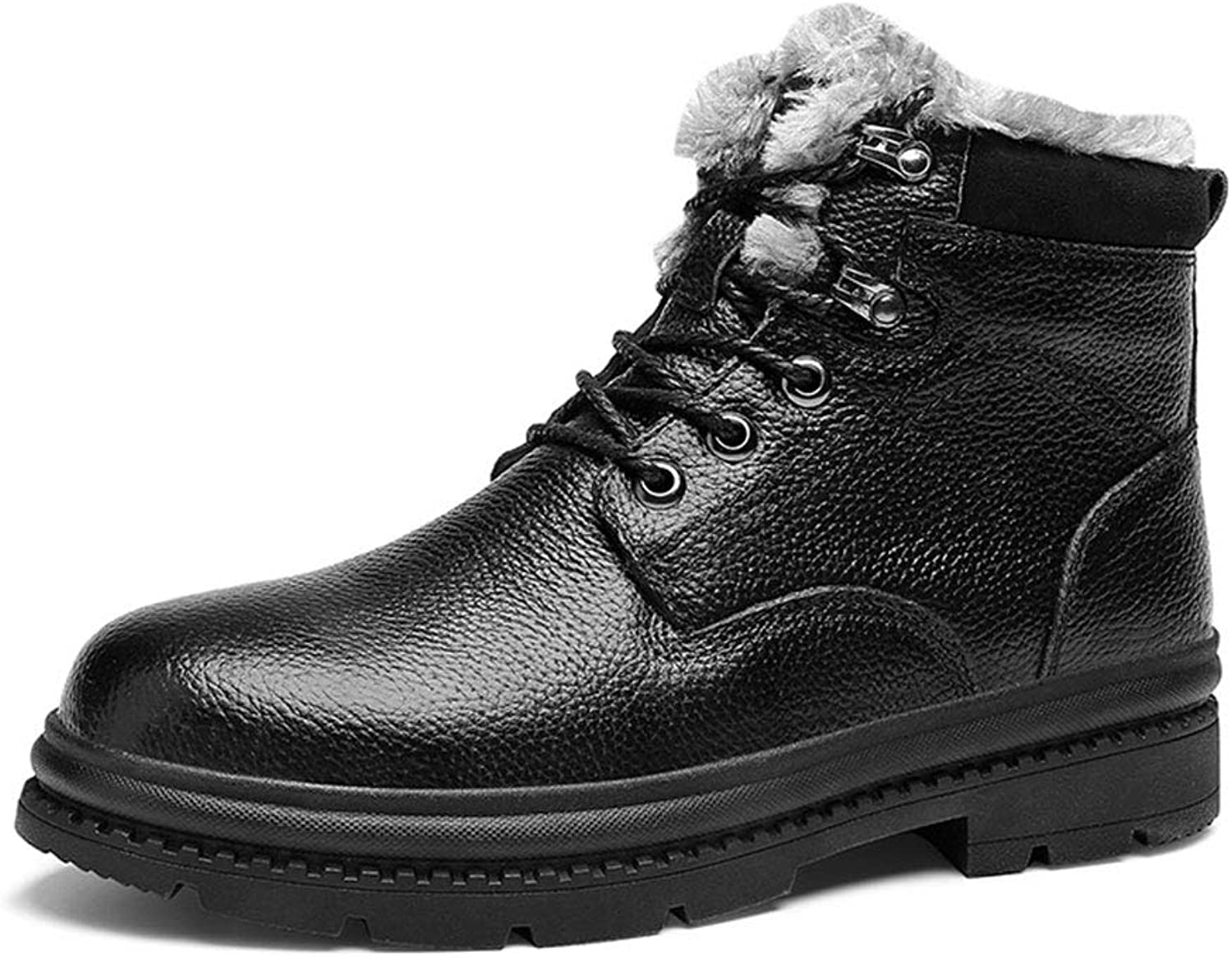 High Rise Boots,Men's Leather Walking Hiking shoes,Winter Snow Boots,Waterproof Trekking Comfort shoes, Rubber Sole