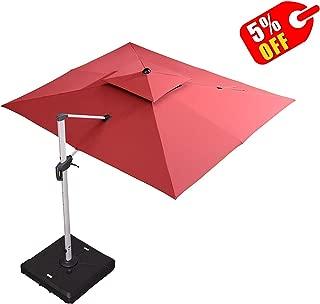 PURPLE LEAF 9' X 11' Double Top Deluxe Rectangle Patio Umbrella Offset Hanging Umbrella Outdoor Market Umbrella Garden Umbrella, Terra