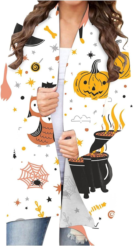 Fudule 2021 Halloween Shirts for Women Long Sleeve Open Front Cardigan Funny Pumpkin Face Cute Ghost Bat Lightweight Top
