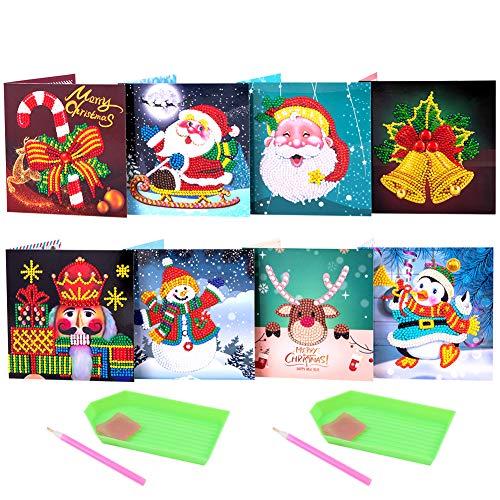 8 Stück Weihnachtskarten 5D Diamant Malerei Weihnachtsgrußkarten Kreative Weihnachtsmann Schneemann Rentier Weihnachten Grußkarten Set DIY Diamantmalerei Festival Festival Neujahr