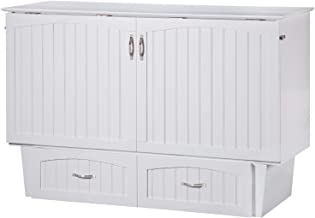 Atlantic Furniture Nantucket Murphy Bed Chest with Charging Station & Mattress, Queen, White