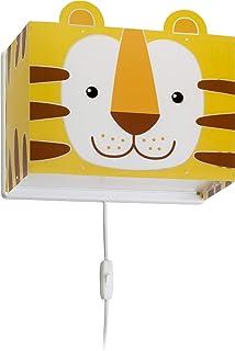 Dalber Little Tiger Lámpara Infantil Aplique Pared Tigre Animales, 60 W, Amarillo