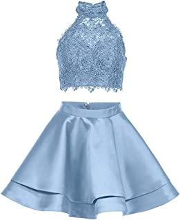 Two Pieces Lace Homecoming Dresses Short High Neck Satin Cocktail Prom Party Gowns P005