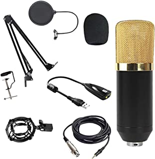 Perfeclan Studio Condenser Microphone Set Shock Mount Bracket - Golden A with Sound Card, 165mm
