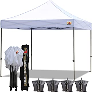 ABCCANOPY Canopy Tent 10 x 10 Pop Up Canopies Commercial Canopies Market Stall Roller Bag Bonus 4 Weight Bags, White