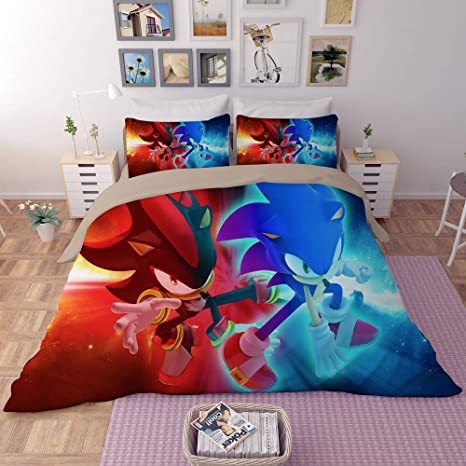 Sonic the Hedgehog 3D Print Duvet Cover 2//3PC Bedding Set Quilt Cover Pillowcase