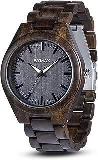 Men Wood Watch Quartz, BYMAX Fashion Handmade Wooden Wrist Watches Mens