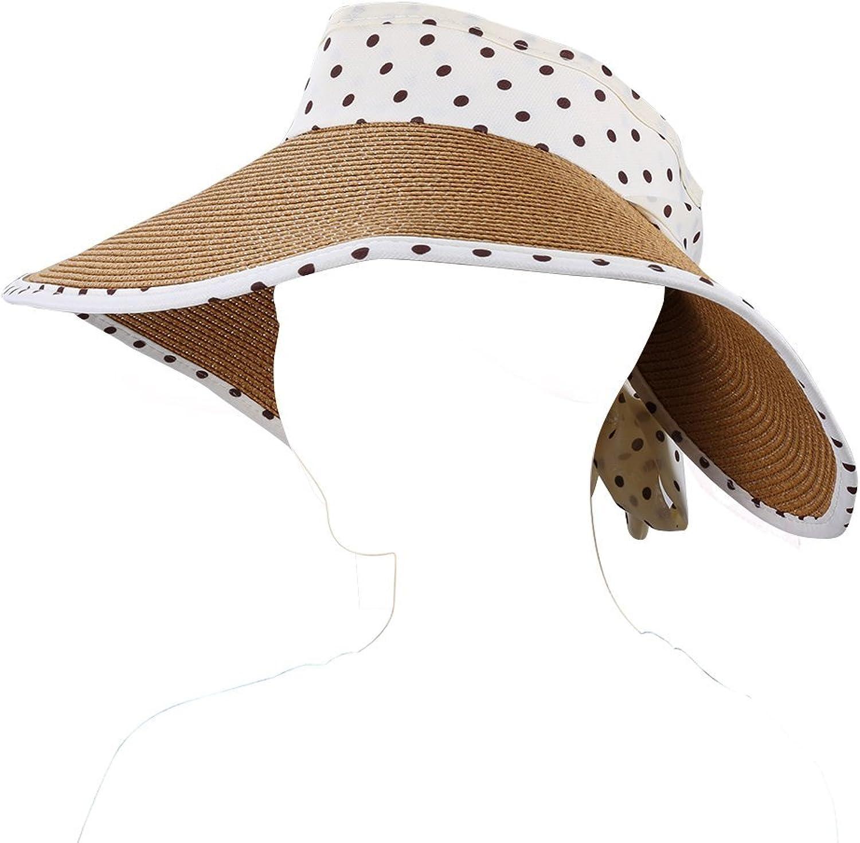 Aerusi Women's Roll Up Straw Floppy Wide Brim Sun Visor Hat with Polka Dot Bow