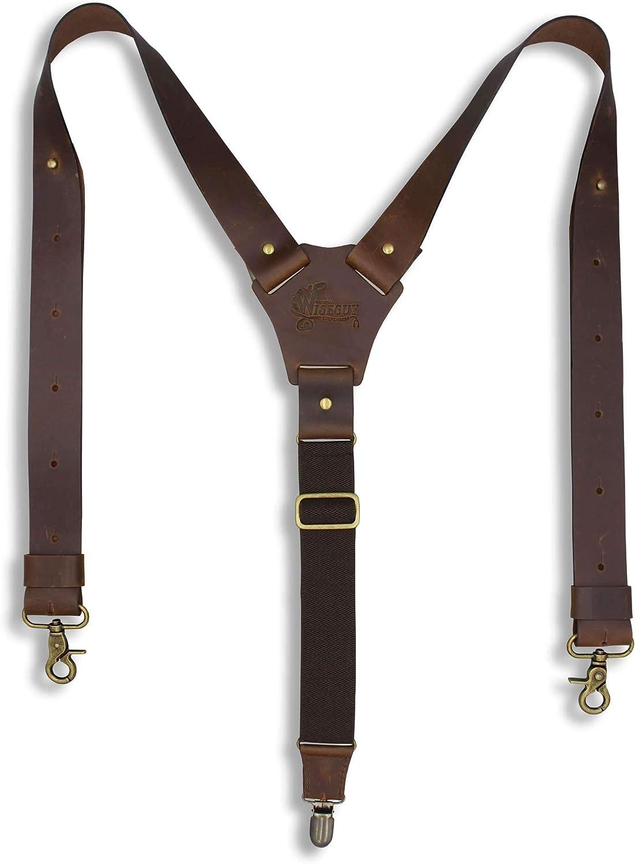 Suspenders Dark Brown Leather Flex Wide 1.36 inch   Wiseguy Original