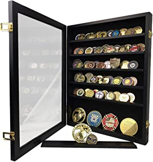 XJmil Challenge Coin Display Case Cabinet Holder Military Challenge Coin Stand Rack Glass Door Black Finish