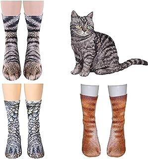 Tpocean, 3 pares de calcetines de animal animal pata de gato 3D calcetines de algodón calcetines de Halloween para mujeres niñas adultos unisex