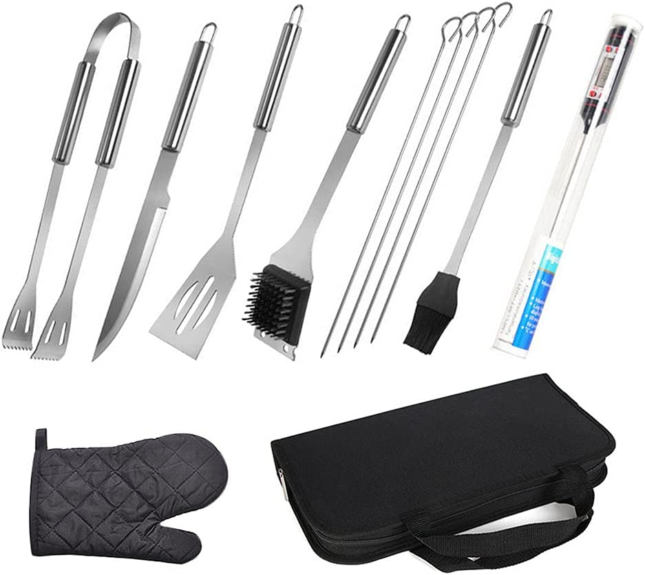 CTGVH Quality inspection 12 Pcs Grilling Accessories El Paso Mall Sets BBQ Barbecue Tool Utensil