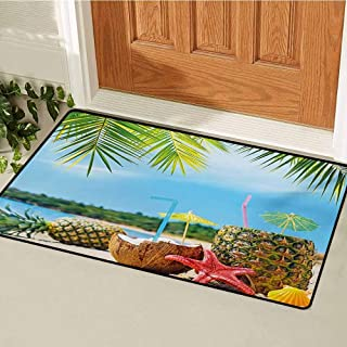 GUUVOR Tropical Front Door mat Carpet Fresh Summer Fruits Coconut and Pineapple Drinks at Exotic Beach Palm Trees Machine Washable Door mat W23.6 x L35.4 Inch Blue Green Brown