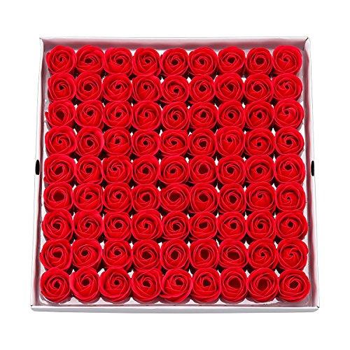 weiye 81pcs Seife Rose Blume–Flora Duft Seife Rose Flower–Plant ätherisches Öl Seife, Geschenk für Geburtstag/Jahrestag/Hochzeit/Valentinstag/Muttertag Geschenk-Box Red a