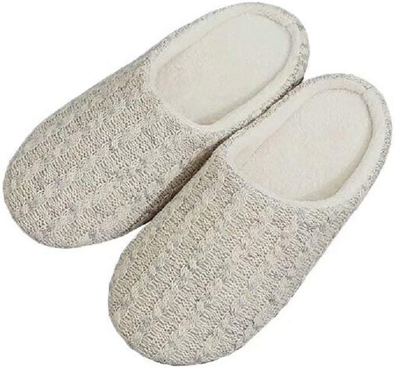 Raku Women Men's Cotton Knit Memory Foam Slippers Terry Cloth Anti Skid Indoor Outdoor Slip-on House shoes