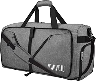 65L Travel Duffel Bag, Weekender Bag With Shoes Compartment Tear Resistant Foldable Duffle Bag For Men Women Light Grey