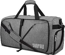 SUNPOW 65L Travel Duffel Bag, Weekender Bag With Shoes Compartment Tear Resistant Foldable Duffle Bag For Men Women Light Grey