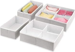 mDesign Soft Fabric Dresser Drawer and Closet Storage Organizer Bins for Bedroom Closet, Dresser Tops, Drawers - 4 Pieces,...