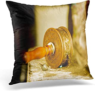 "Good day 2019 Throw Pillow Cover White Tibet Prayer Wheel in Buddhist Temple of Bhutan Decorative Pillow Case Home Decor Square 18"" x 18"" Pillowcase"