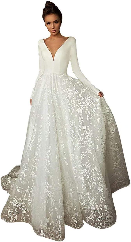 Winter Satin Long Sleeve Wedding Dresses Guest Deep V-Neck Lace Bridal Gowns Wedding Reception Dress