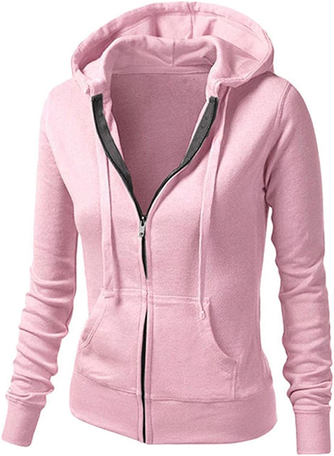 Womens Hoodies,Women Hoodies with Zipper Plus Size Aesthetic Fashine with Pockets Solid Color Sweatshirt Coat
