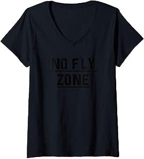 Womens No Fly Zone Football Defense TShirt V-Neck T-Shirt