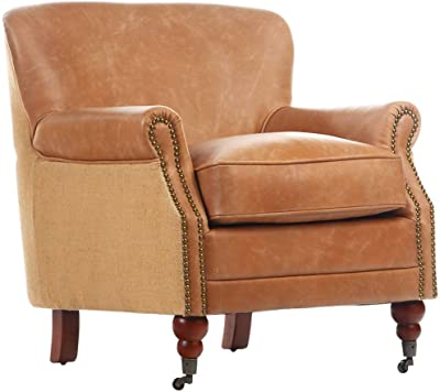 Antique Linen & Leather Occasional Chair