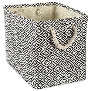 DII Geo Diamond Woven Paper Laundry Hamper or Storage Bin, Large Rectangle, Black