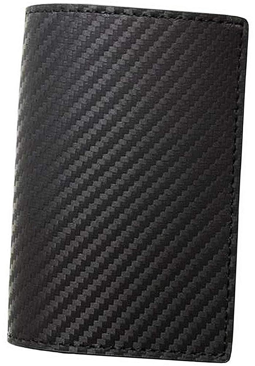 文明化日付ラフト極上イタリアンカーボンレザー 本革 カードケース 大容量 名刺入れ ブラック ME0172_c1