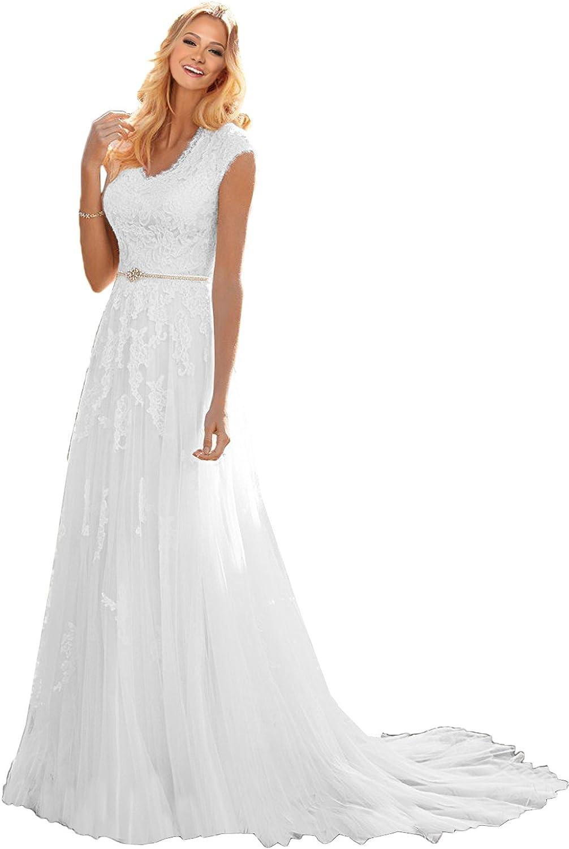 MILANO BRIDE Grace Princess Vneck Floral Lace Wedding Dress For Bride Cheap